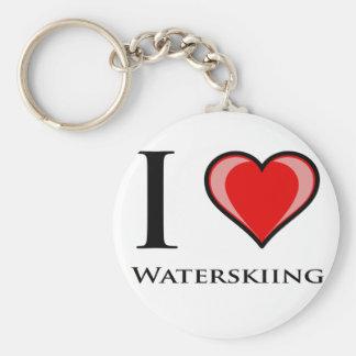I Love Waterskiing Key Ring