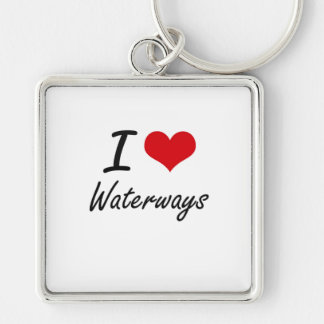 I love Waterways Silver-Colored Square Key Ring