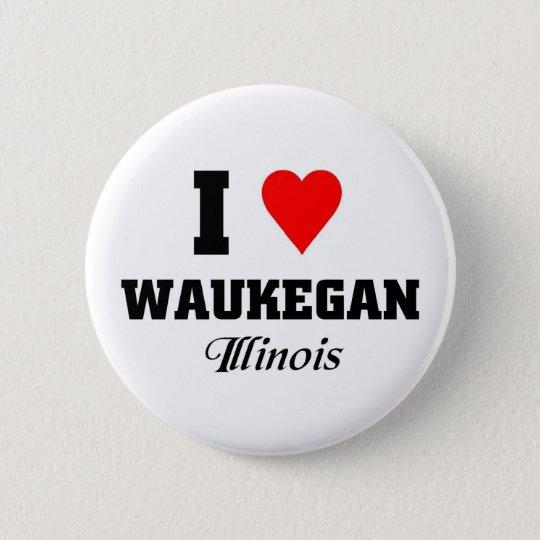 I love Waukegan, Illinois 6 Cm Round Badge