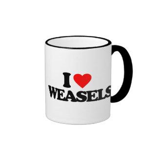 I LOVE WEASELS RINGER COFFEE MUG