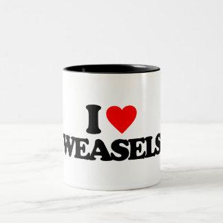 I LOVE WEASELS Two-Tone MUG