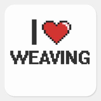 I Love Weaving Digital Retro Design Square Sticker
