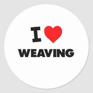 I Love Weaving Round Stickers
