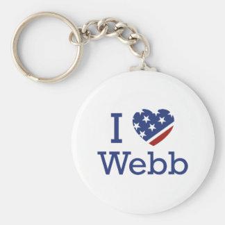 I Love Webb Basic Round Button Key Ring
