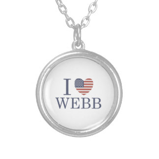 I Love Webb Silver Plated Necklace