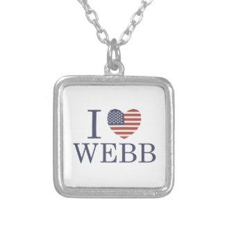 I Love Webb Square Pendant Necklace