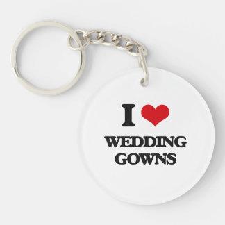I love Wedding Gowns Single-Sided Round Acrylic Keychain