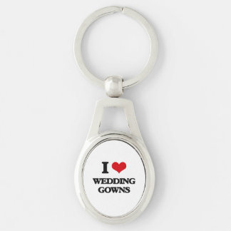 I love Wedding Gowns Silver-Colored Oval Keychain
