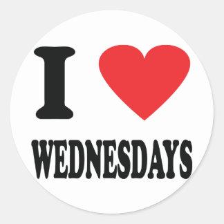 I love wednesdays icon round stickers