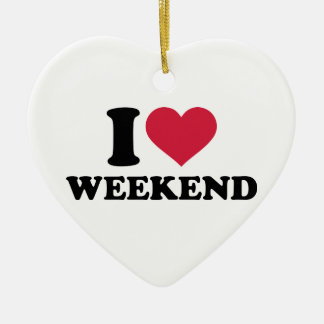 I love weekend ceramic heart decoration