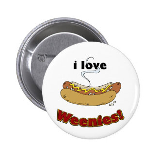 I Love Weenies ~ Hot Dogs Pinback Buttons