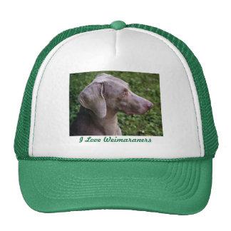 I LOVE WEIMARANERS CAP TRUCKER HAT