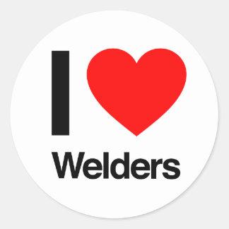 i love welders round sticker