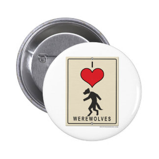 I Love Werewolves 6 Cm Round Badge