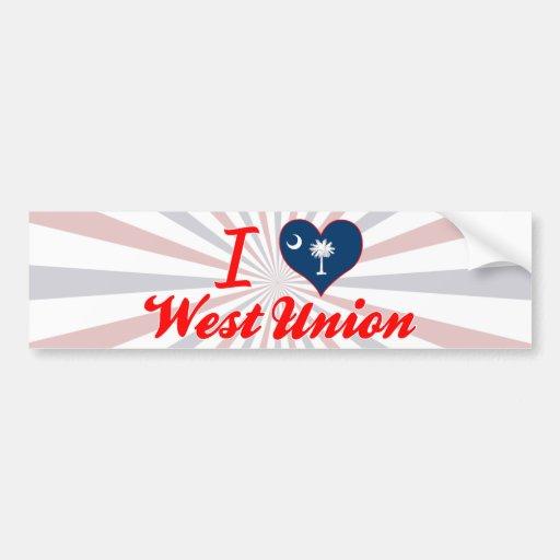 I Love West Union, South Carolina Bumper Sticker