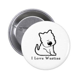 I Love Westies 3 6 Cm Round Badge