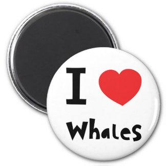 I love whales 6 cm round magnet