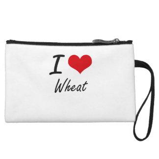 I love Wheat Wristlet Purses