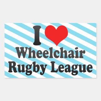I love Wheelchair Rugby League Rectangular Sticker