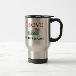 I Love White Pelicans Mug
