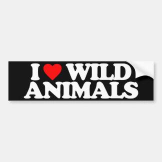I LOVE WILD ANIMALS BUMPER STICKER