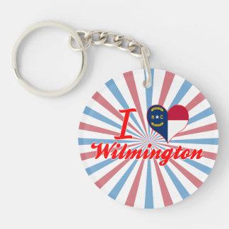 I Love Wilmington, North Carolina Single-Sided Round Acrylic Key Ring