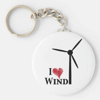 i love wind energy basic round button key ring