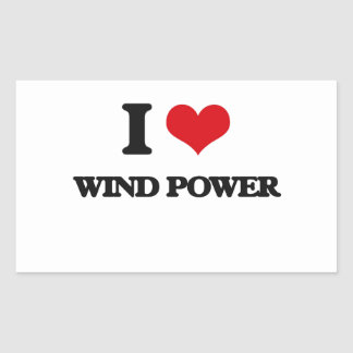 I love Wind Power Rectangular Sticker