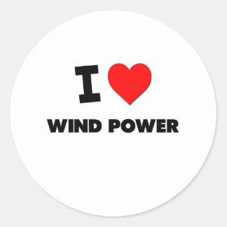 I Love Wind Power Round Sticker