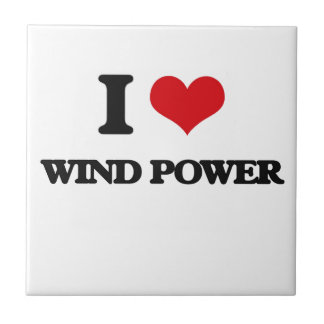 I love Wind Power Small Square Tile