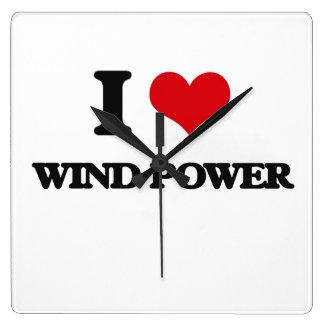 I love Wind Power Wallclock