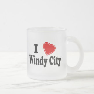I Love Windy City Frosted Glass Mug