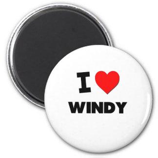 I love Windy 6 Cm Round Magnet
