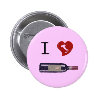 I Love Wine 6 Cm Round Badge