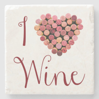 I Love Wine Stone Coaster
