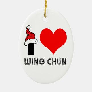 I Love Wing Chun Design Ceramic Oval Decoration