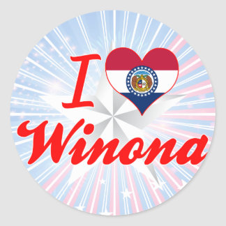 I Love Winona, Missouri Round Sticker