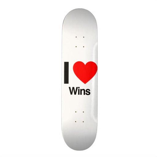 i love wins skate board deck