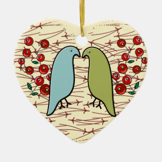 I Love Winter Birds and Berries (Personalized) Christmas Ornament