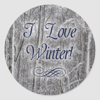 """""""I Love Winter"""" Snow-Covered Trees Stickers"""