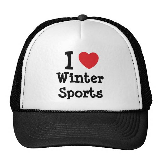 I love Winter Sports heart custom personalized Hat