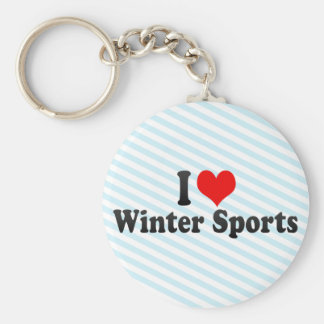 I Love Winter Sports Keychains
