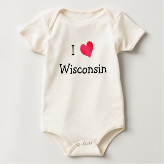 I Love Wisconsin Baby Bodysuit