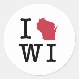 I Love Wisconsin Round Sticker