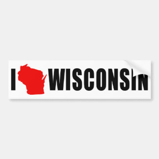 I Love Wisconsin Shape Bumper Sticker
