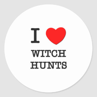 I Love Witch Hunts Round Stickers