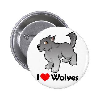 I Love Wolves 6 Cm Round Badge
