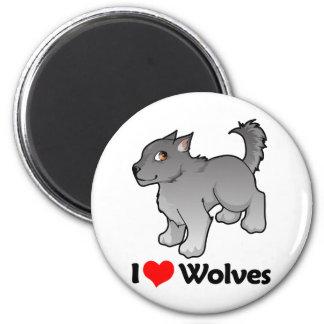 I Love Wolves 6 Cm Round Magnet
