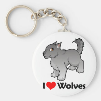 I Love Wolves Basic Round Button Key Ring