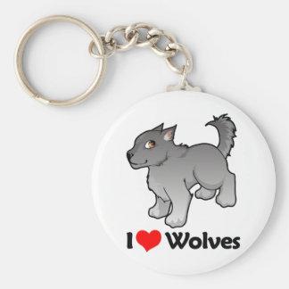 I Love Wolves Basic Round Button Key Ring
